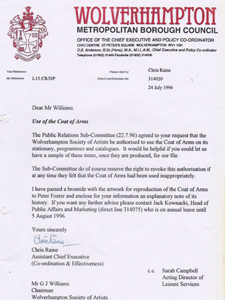 Letter Granting use of Wolverhampton Coat of Arms