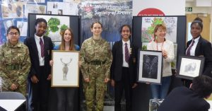 WSA member Jess Pritchard shows her drawings of animals to pupils. Lisadeep Chumber Esther Osazuwa (Jess Pritchard WSA member) Sonata Mieliauskaite Gurleen Kaur (Annette Hughes WSA member) Shiryes Agyeman